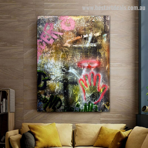 Dapple Hand Typography Abstract Graffiti Framed Painting Picture Canvas Print for Room Wall Finery