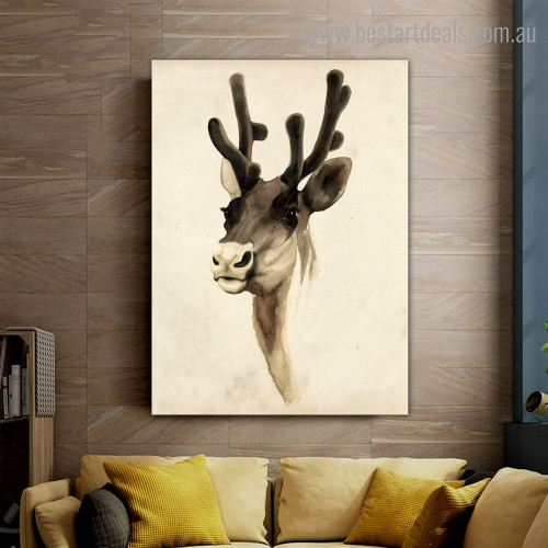 Cervid Animal Modern Framed Painting Photo Canvas Print for Room Wall Ornament