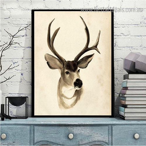 Antelope Animal Modern Framed Painting Portrait Canvas Print for Room Wall Decor