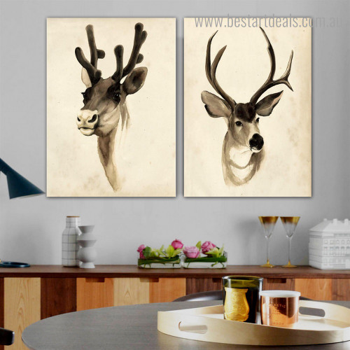 Horned Animal Modern Framed Artwork Pic Canvas Print for Room Wall Onlay