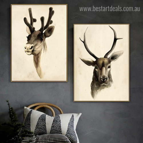 Horned Mammal Contemporary Framed Portraiture Photograph Canvas Print for Room Wall Tracery