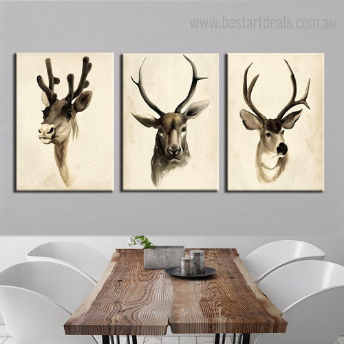 Horned Creature Contemporary Framed Artwork Photograph Canvas Print for Dining Room Wall Decor