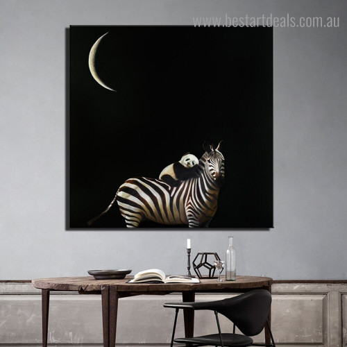 Zebra Panda Animal Modern Framed Painting Photo Canvas Print for Dining Room Wall Ornament