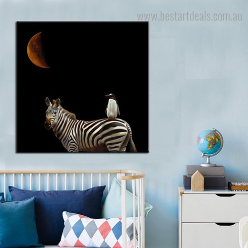 Zebra Penguin Bird Animal Contemporary Framed Portraiture Picture Canvas Print for Room Wall Getup