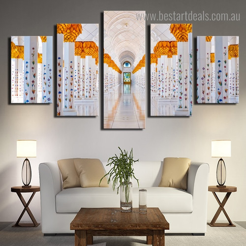Mosque Sheikh Zayed Islamic Religious Architecture Modern Framed Painting Portrait Canvas Print for Room Wall Decoration