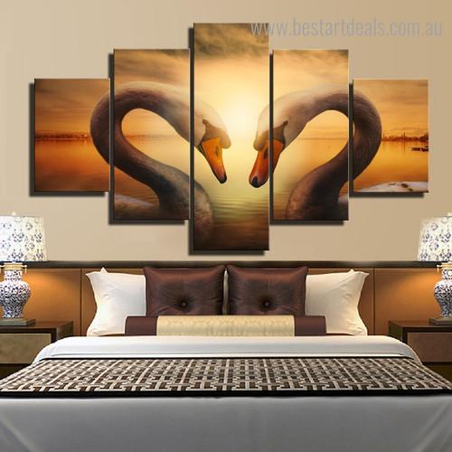 Swan Lake Bird Landscape Contemporary Framed Artwork Photo Canvas Print for Bedroom Wall Onlay