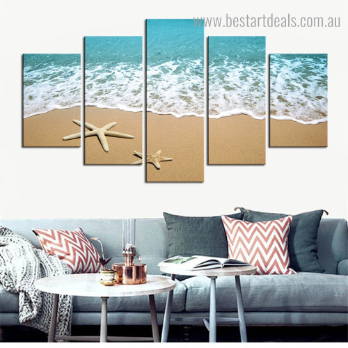 Sea Star Fish Creature Landscape Contemporary Framed Portmanteau Pic Canvas Print for Room Wall Onlay