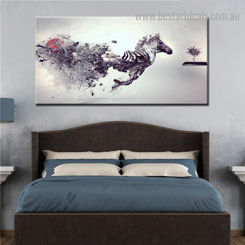 Broken Zebra Abstract Animal Modern Framed Effigy Picture Canvas Print for Room Wall Disposition