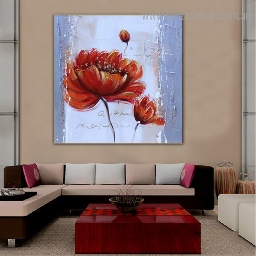 Reddish Flower Abstract Floral Oil Painting Image Canvas Print for Room Wall Garnish