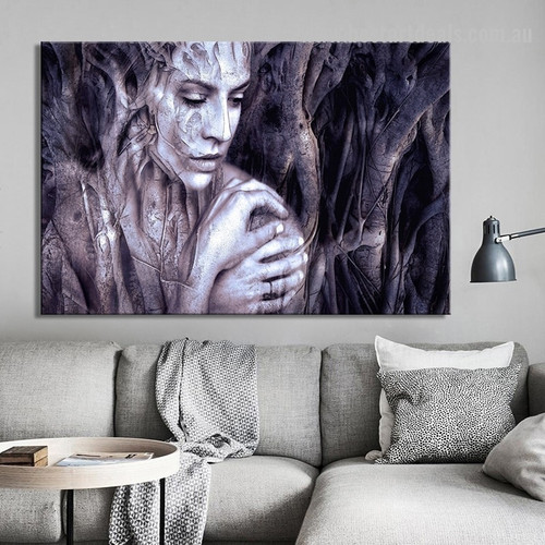 Wood Carving Girl Abstract Modern Framed Portraiture Image Canvas Print for Room Wall Drape