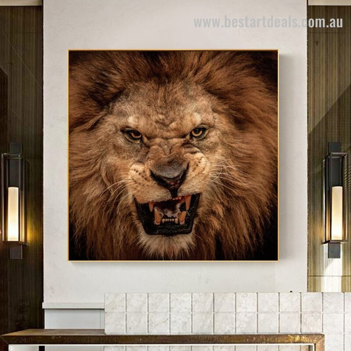 Ferocious Lion Animal Contemporary Framed Painting Photo Canvas Print for Wall Hanging Decor