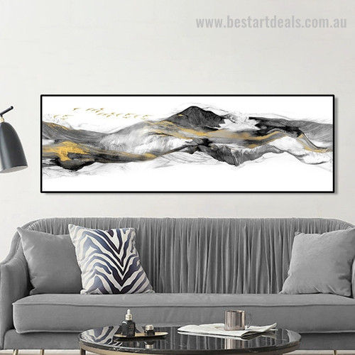 Fells Abstract Panoramic Contemporary Framed Effigy Picture Canvas Print for Wall Ornament