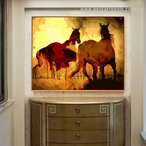 Horse Arbor Abstract Animal Landscape Contemporary Framed Painting Pic Canvas Print for Wall Outfit