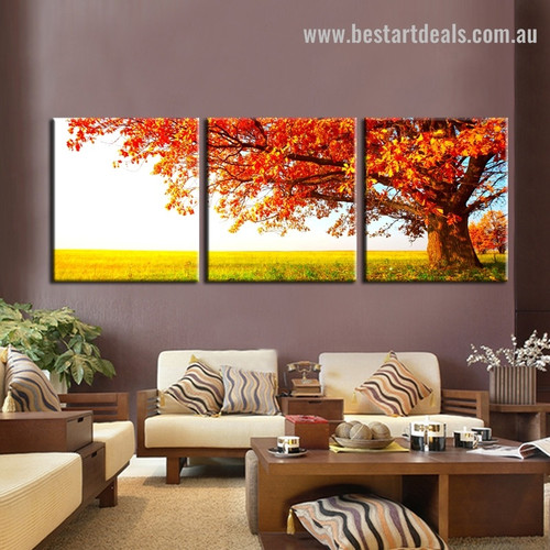 Red Tree Botanical Contemporary Framed Painting Pic Canvas Print for Wall Hanging Decor
