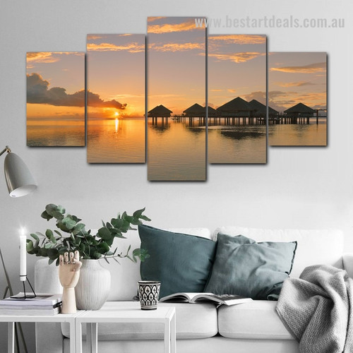 Sunset at Ocean Nature Modern Framed Painting Photograph Canvas Print for Room Wall Adornment