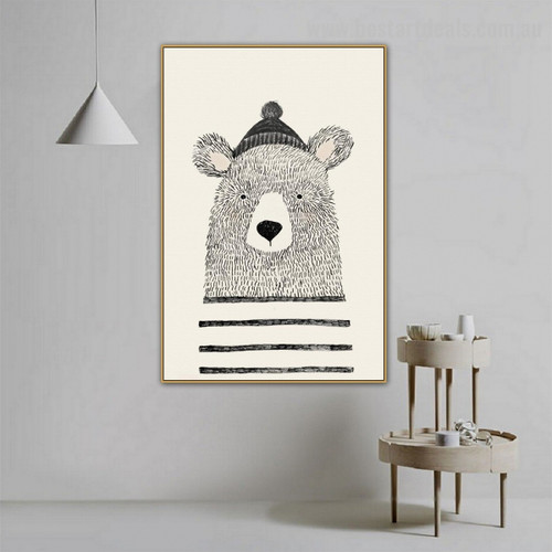 Lovely Bear Animal Kids Modern Framed Painting Image Canvas Print for Room Wall Finery