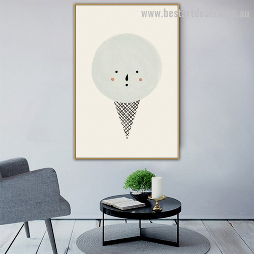 Ice Cream Animated Food and Beverages Kids Modern Framed Painting Photo Canvas Print for Room Wall Drape