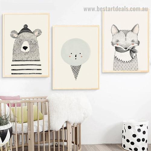 Bruin Cone Animal Kids Modern Framed Portraiture Portrait Canvas Print for Room Wall Assortment
