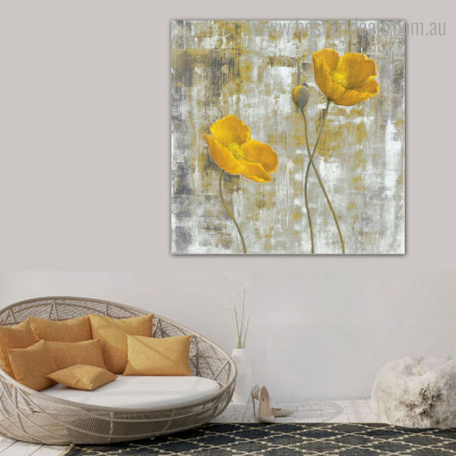 Yellow Poppy Abstract Floral Contemporary Framed Painting Pic Canvas Print for Wall Hanging Decor