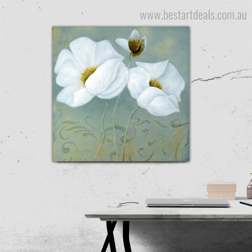 White Poppy Abstract Floral Contemporary Framed Artwork Portrait Canvas Print for Room Wall Onlay
