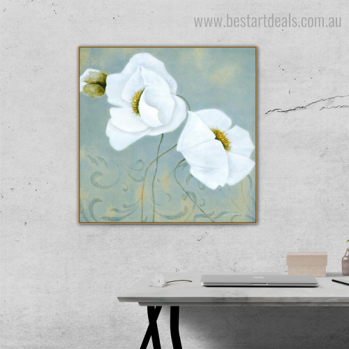 White Flowers Abstract Floral Contemporary Framed Artwork Photo Canvas Print for Room Wall Decoration