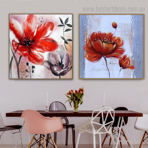 Scarlet Blossoms Abstract Floral Modern Framed Painting Image Canvas Print for Room Wall Getup
