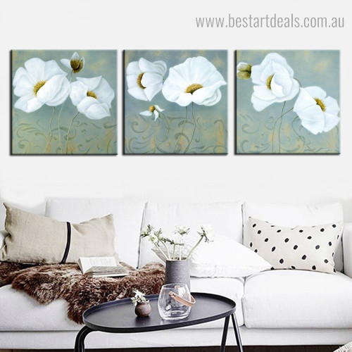 White Poppies Abstract Floral Contemporary Framed Artwork Portrait Canvas Print for Room Wall Garnish