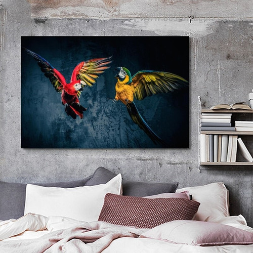 Macaw Parrots Bird Modern Framed Painting Photo Canvas Print for Room Wall Decoration