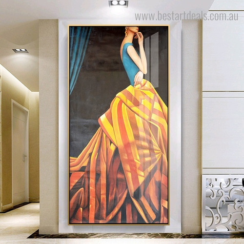 Noble Woman Abstract Minimalist Modern Framed Portmanteau Portrait Canvas Print for Room Wall Getup