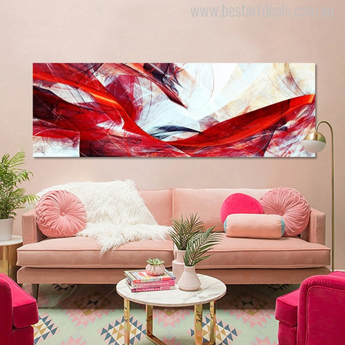 Abstract Red and White Painting Canvas Print for Living Room Wall