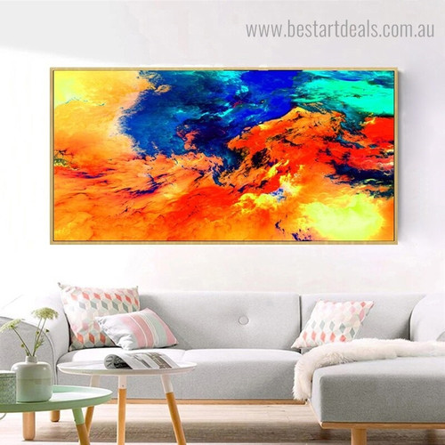 Colorful Clouds Abstract Landscape Modern Framed Artwork Image Canvas Print for Room Wall Decor