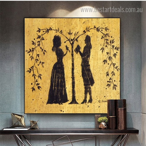 Lovely Couples Abstract Contemporary Framed Portraiture Photo Canvas Print for Room Wall Ornamentation