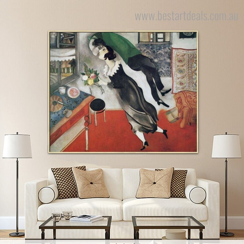 Birthday Marc Chagall Modernist Figure Framed Painting Photo Canvas Print for Room Wall Decoration