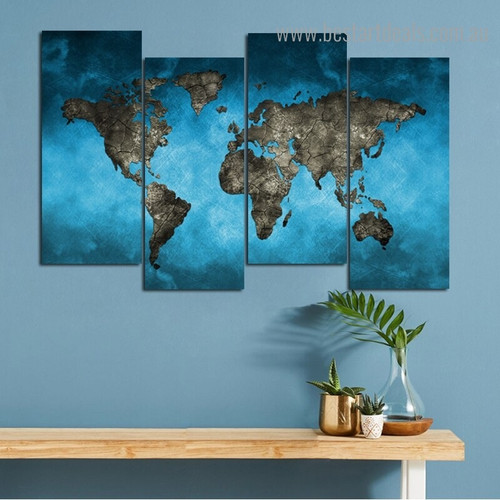 Water Soil Map Abstract Modern Framed Painting Portrait Canvas Print for Room Wall Decor