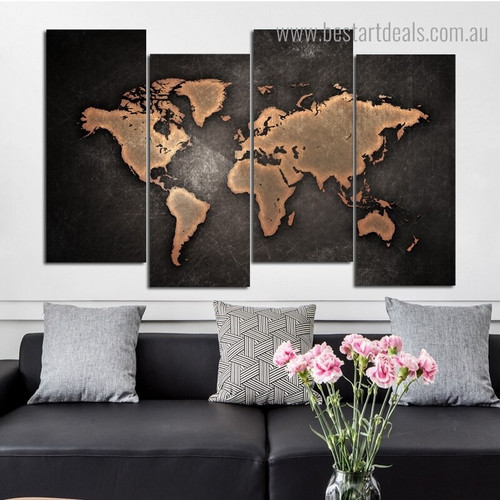 Dark Map Abstract Modern Framed Painting Image Canvas Print for Room Wall Ornament
