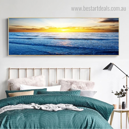Profound Sunrise Landscape Modern Panoramic Framed Painting Photo Canvas Print for Room Wall Ornament