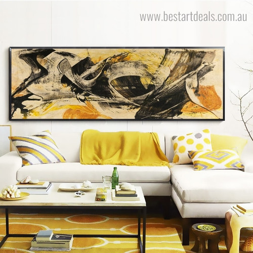 Black and Yellow Abstract Modern Panoramic Framed Painting Pic Canvas Print for Wall Onlay