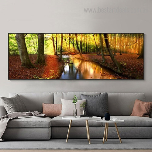 Autumn Forest Landscape Modern Framed Artwork Photo Canvas Print for Room Wall Equipment