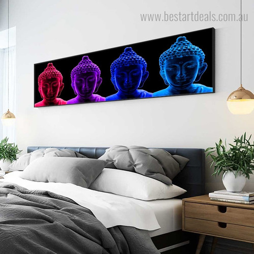 Buddhism Abstract Modern Panoramic Framed Portmanteau Picture Canvas Print for Room Wall Moulding