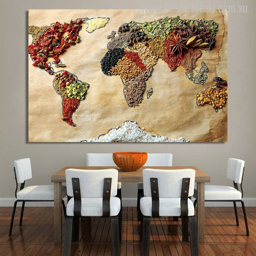 Foodie World Map Print for Dining Room Wall Art