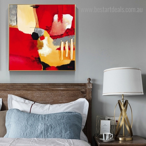 Red and Yellow Abstract Modern Framed Painting Picture Canvas Print for Room Wall Decoration