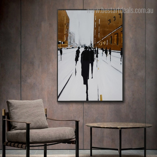 City Street Abstract Cityscape Framed Artwork Image Canvas Print for Room Wall Decor