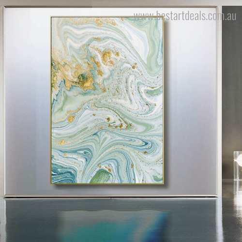Golden Water Abstract Marble Modern Framed Artwork Portrait Canvas Print for Room Wall Decor