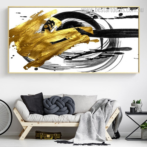 Black Spots Abstract Modern Framed Smudge Portrait Canvas Print for Room Wall Decoration