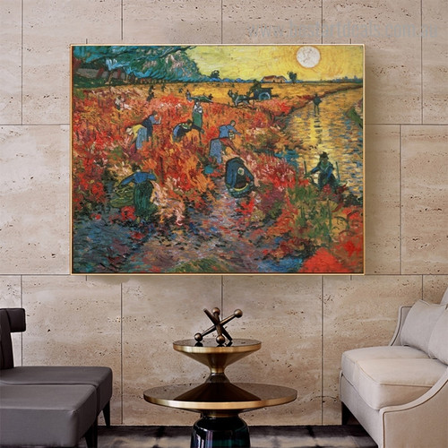 The Red Vineyard Reproduction Post Impressionist Framed Artwork Picture Canvas Print for Room Wall Outfit