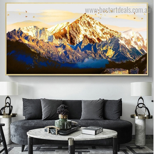 Golden Mountain Bird Landscape Framed Painting Picture Canvas Print for Room Wall Getup
