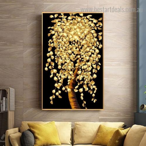 Golden Foliage Abstract Botanical Framed Artwork Photo Canvas Print for Room Wall Onlay