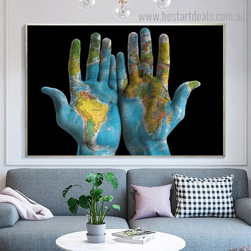Hand Map Abstract Modern Framed Portmanteau Picture Canvas Print for Room Wall Decoration