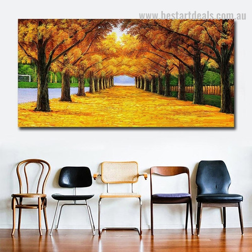 Golden Arbors Botanical Landscape Framed Portrayal Pic Canvas Print for Room Wall Drape