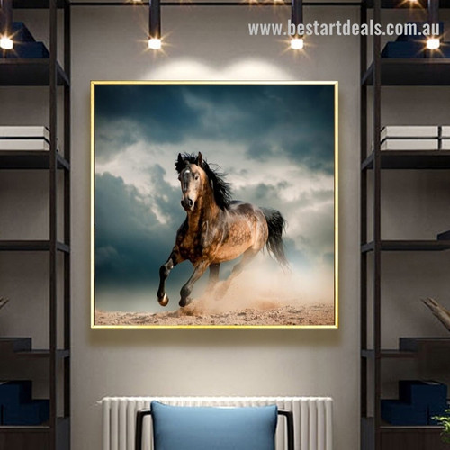 Dashing Horse Animal Landscape Modern Framed Portraiture Picture Canvas Print for Room Wall Equipment